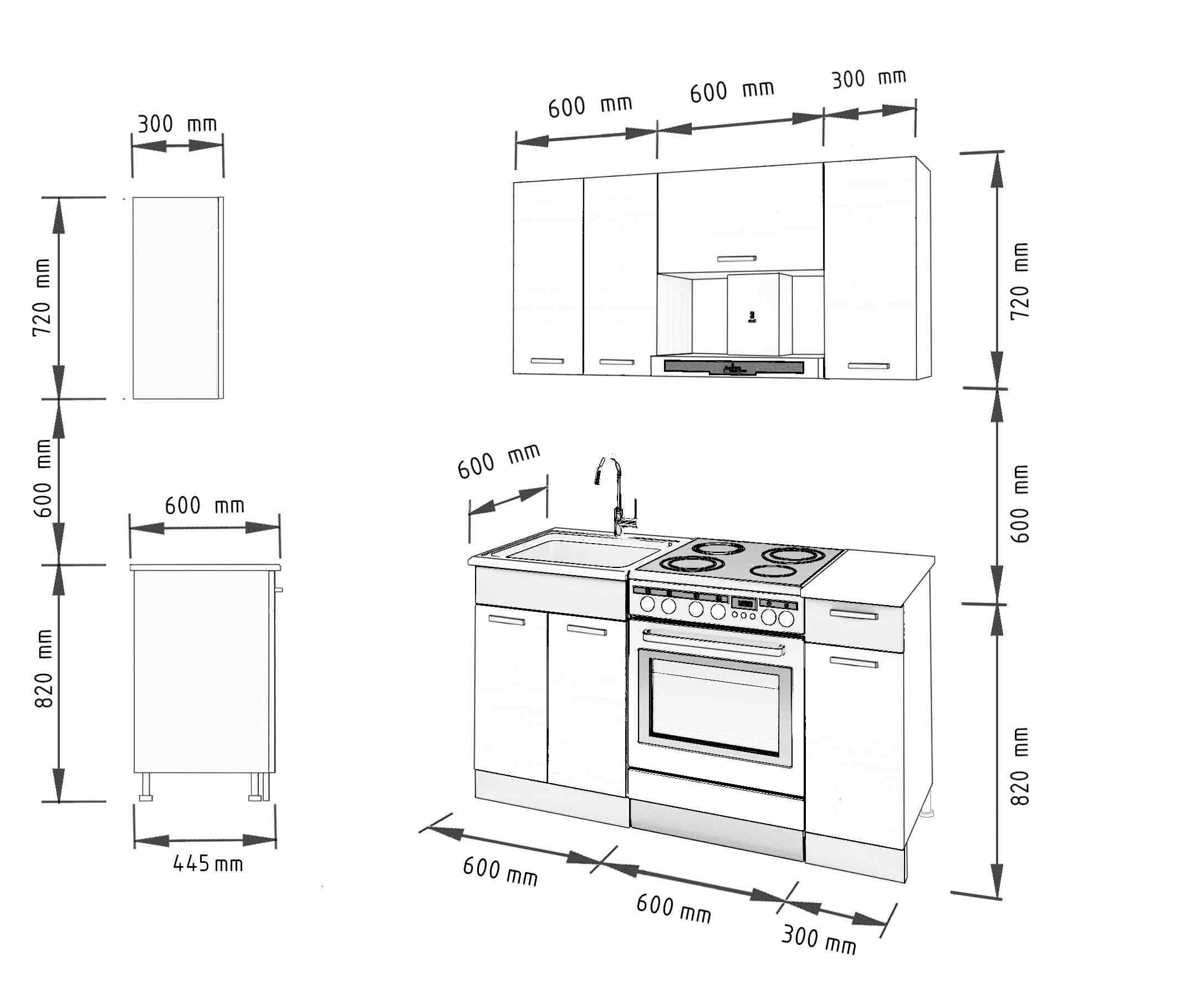 Küche ALINA 150 cm – Möbel DENA