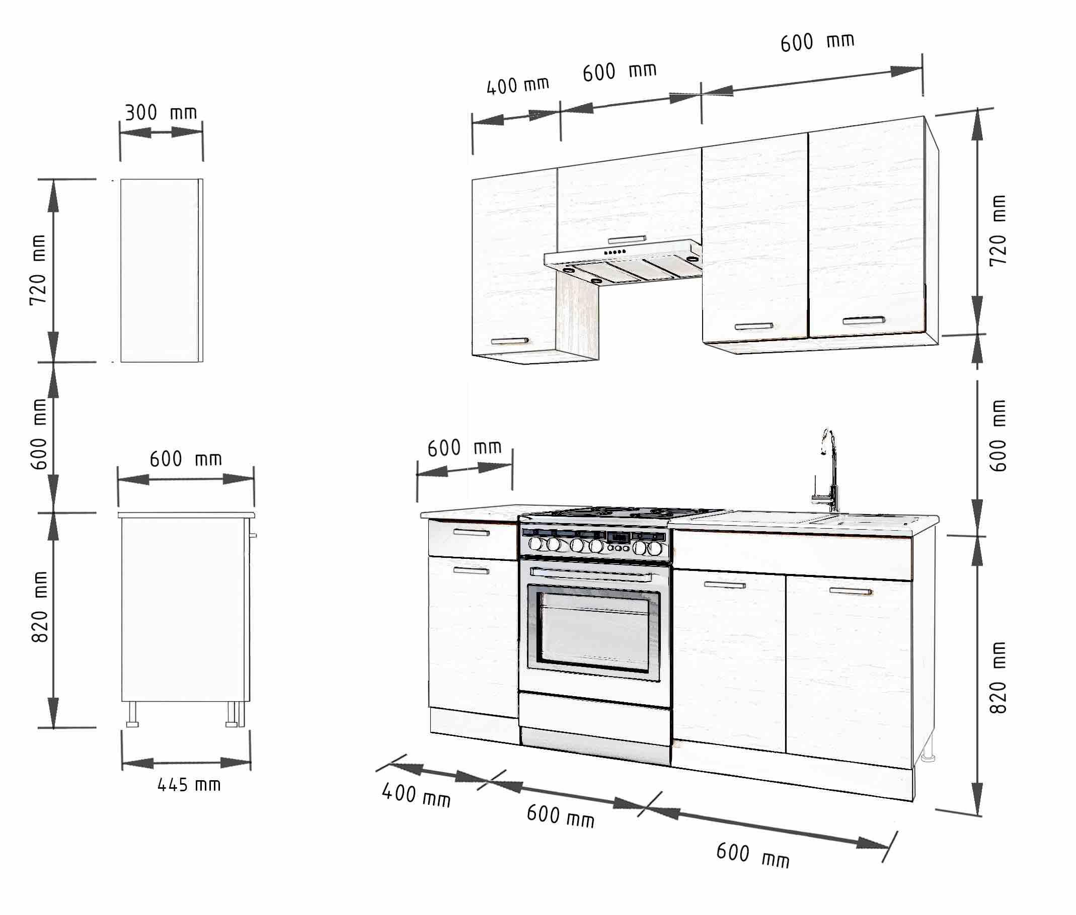 Küche SEVILLA 160 cm – Möbel DENA