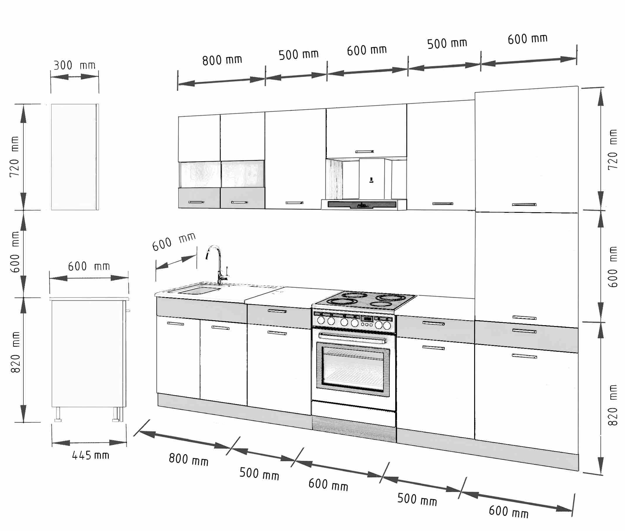 Küche 300 Cm   Kuche Sevilla H 300 Cm Mobel Dena