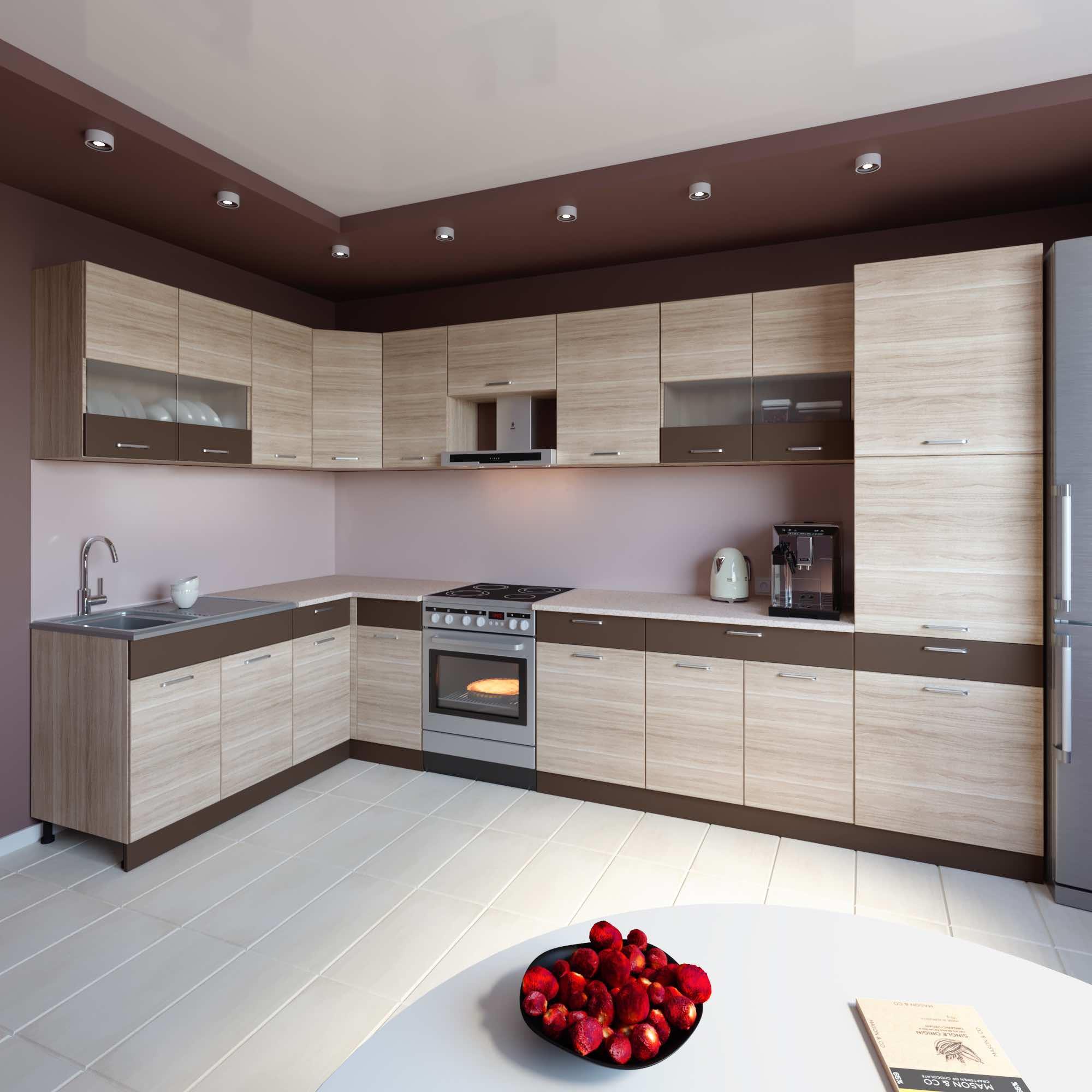 Küche L-Form ALINA 180×350 cm mit Hochschrank – Möbel DENA